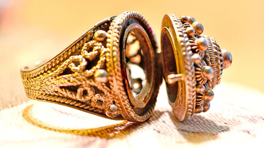 Poison Ring 17th Century European Poison Ring European  PILLBOX Animal Animal Themes Antique Art And Craft Close-up Fashion Focus On Foreground Gemstone  Gold Gold Colored Indoors  Jewelry Luxury No People Pattern Personal Accessory Poison Selective Focus Still Life Studio Shot Table Two Objects Wealth