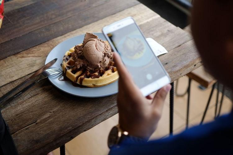 Choc Indulgance Ice Cream On Vanilla Waffle Instagramers Waffle Cheatday Day Dessert Food Food And Drink Foodphotography Foodporn Icecream Indulgence Instadaily Plate Ready-to-eat Real People Sweet Sweet Food Temptation Unhealthy Eating