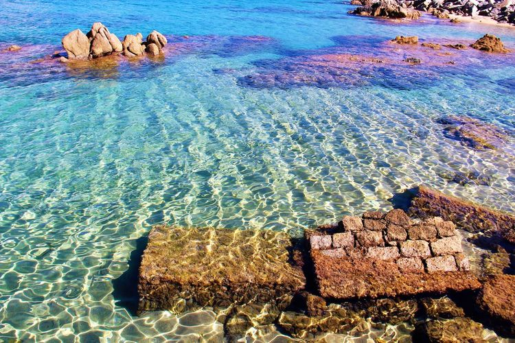 Corse Beauty In Nature Clear Sea Clear Water Nature No People Outdoors Propriano Rock - Object Ruins In The Sea Sea Water