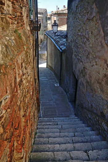 alley view of San casciano dei Bagni medieval village in Tuscany, Italy Architecture Built Structure Outdoors Street Stone Wall Brick Old Town No People Wall - Building Feature Alley Day Building Building Exterior Wall Light And Shadow EyeEm Best Shots EyeEm Gallery Tuscany Medieval