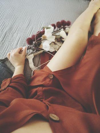 Low Section Human Hand Women Beauty Human Leg Textile Close-up
