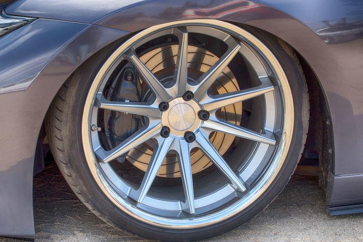 Close-up of a car wheel