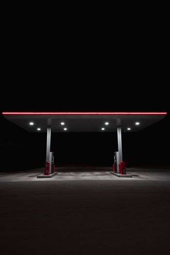 Gas station Minimal Thoughts EyeEm Best Shots Gas Station Station Storytelling Story Station Night Night Illuminated Nature Copy Space Built Structure Transportation Real People Light - Natural Phenomenon Lighting Equipment Architecture Sky