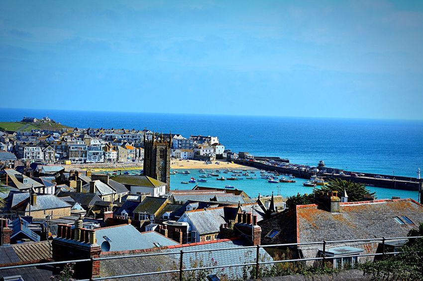 St Ives Harbour St Ives Harbour Harbour View Sea Ocean Ocean View Cornwall Beach Sea And Sky Blue Landscape Sunny Day Sunny Outdoors Day