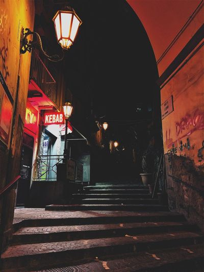 Built Structure Architecture Illuminated Building Exterior Steps And Staircases Night No People Indoors  Neon City Popckorn Napoli Italy The Traveler - 2018 EyeEm Awards
