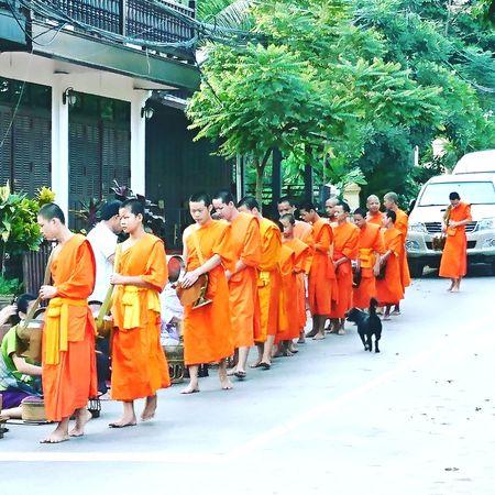 Munkceremoni Luang Prabang Munks Luangprabang Laos, Lao Trip Real People Men Outdoors Day Luang Prabang, Laos Laos Travel Laos2017 Mekongriver Mekong Delta Mekong River Adventure