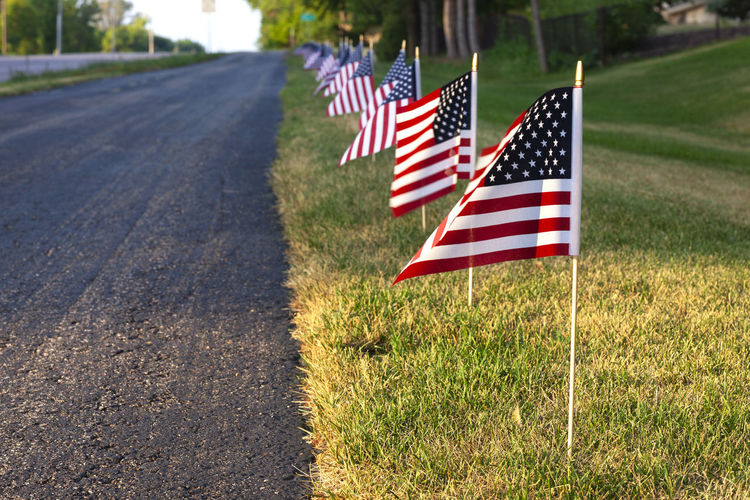 Low angle view of american flags along a path for the 4th of july