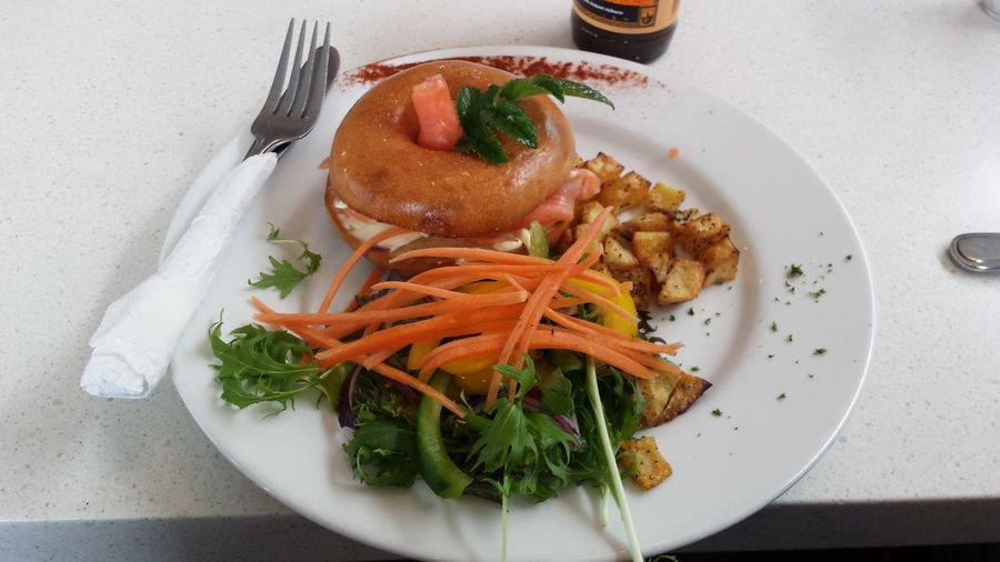 The pizza box. Smoked salmon bagel with salad. Yummy! NZL Food Smoked Salmon  Bagels I Want It♡
