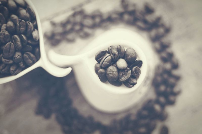 Coffee Coffee Photography Indoors  Food And Drink Directly Above Close-up Still Life Jar Selective Focus Freshness Animal Shell Roasted Coffee Bean Large Group Of Objects Focus On Foreground Caffeine Coffee Bean Ingredient Overhead View