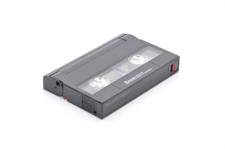 8mm Computer Tape Backup Data Cartridge Over White Background Archive Backup Cartridge Compress Computer Copy Data Data8 Dds Digital Isometric Magnetic Tape