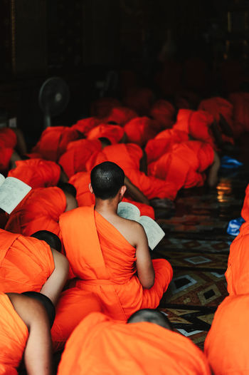 Rear view of monks