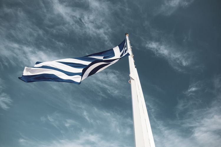 Acropolis Athens Greece Acropolis Wind Patriotism Cloud - Sky Environment Waving Sky Flag Low Angle View Nature Striped No People Day Pole White Color Emotion Motion Independence Outdoors National Icon