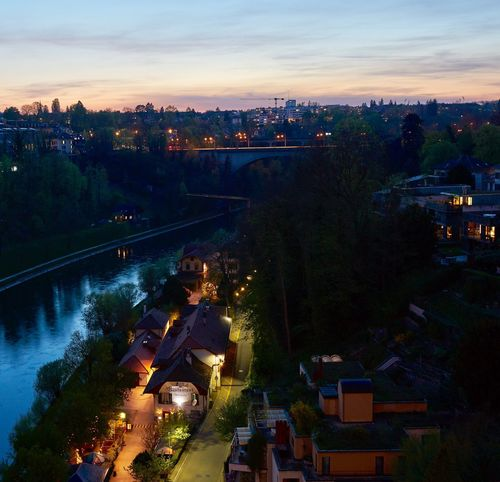 Bern Aare Built Structure Architecture Sunset Bridge - Man Made Structure River Cityscape Illuminated Night Lights High Angle View Switzerland EyeEm Gallery From My Point Of View My Hometown Capital Cities  Travel Destinations Evening Light Followme Sky Bridge
