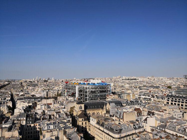 Paris landscape with Pompidou museum Pompidou Center Cityscape City Clear Sky Aerial View Sky Building Exterior