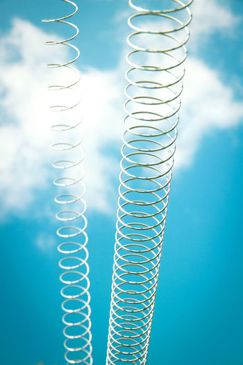 Blue Blurred Background Close-up Cloud - Sky Day Freshness Long Metal No People Outdoors Sky Spiral Staircase Spirally Spirals Symbol Up