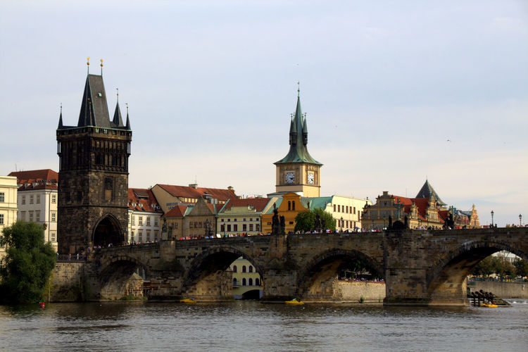 View of old town with river in background