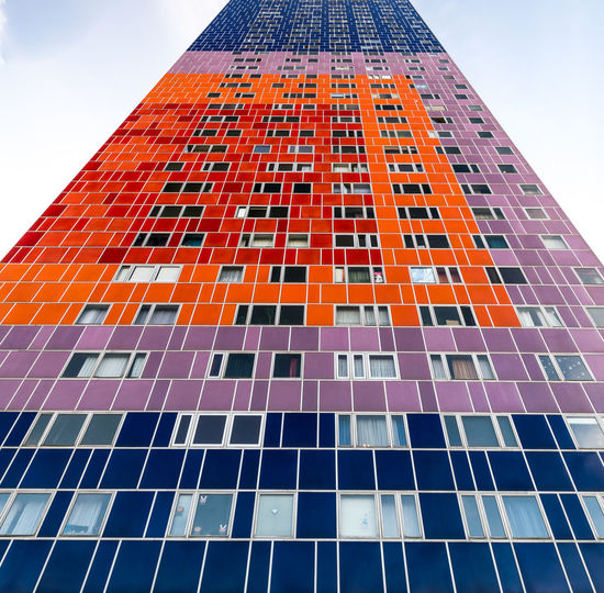 Colorful facade Architecture Building Exterior Built Structure City Day Facade Building Facade Colours Facade Detail Facadelovers Facades Low Angle View Modern No People Outdoors Sky Skyscraper Tall