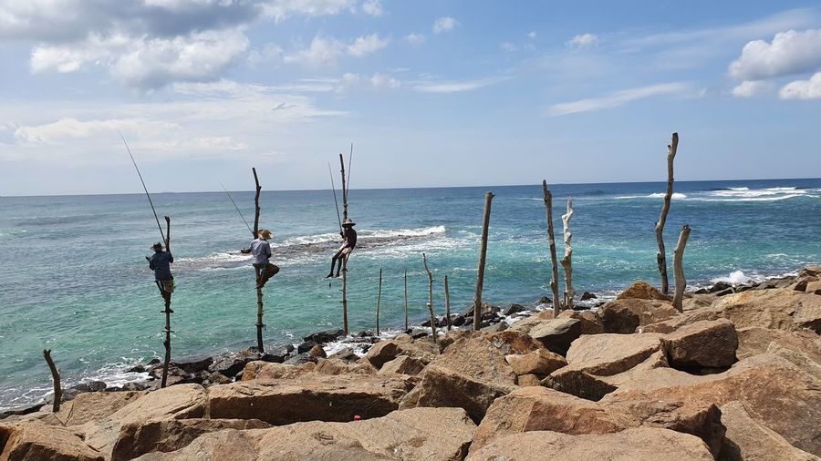 Traditional way of fishing in the south of sri lanka