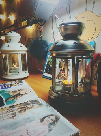 свеча фонарь уют гирлянда Indoors  No People Day First Eyeem Photo