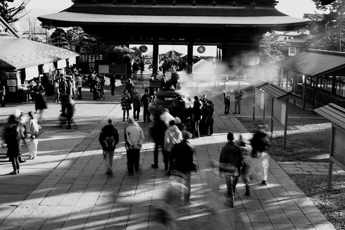 Large Group Of People Women Men Transportation Lifestyles City Life Real People City Adult People Outdoors Day Adults Only Japanese Temple Japanese Traditional Travel Destinations Traditional Architecture Sight Seeing Black And White Photography Motion Blur Leisure Activity Sunlight And Shadow Built Structure Japanese Culture Landmark