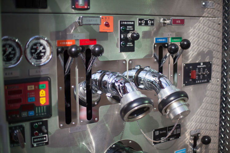 Gauges and levers on control panel