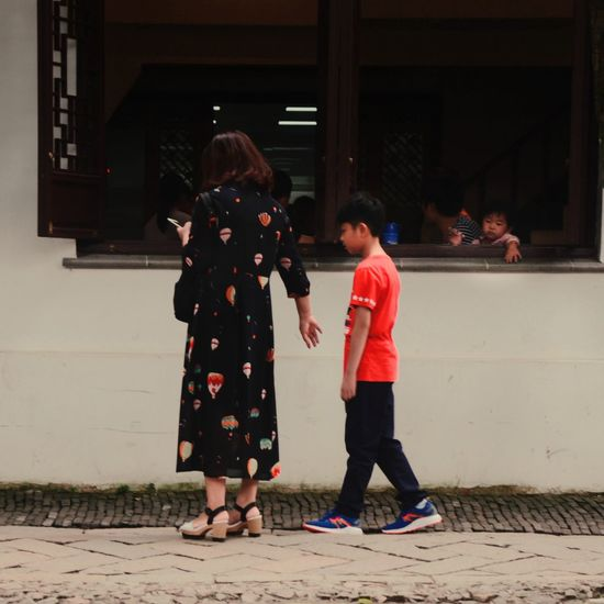 Children on the tour NO.5 Children Mother And Son People Full Length Real People Childhood Children Only Women Standing Child Outdoors Adult Togetherness Two People Day Tourism