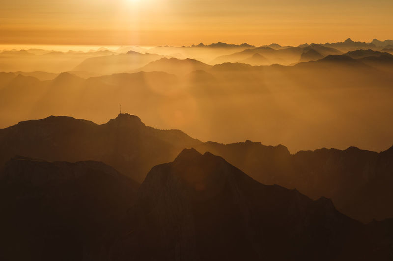 Landscape Layers Mountain Nature, Outdoors Sunray Sunrise, Säntis