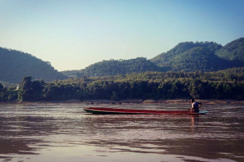 Man Boat Laos