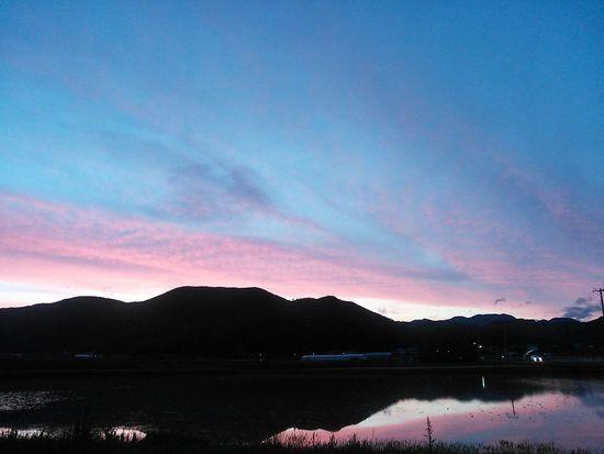 今日の夕焼け空(*˘︶˘*)田んぼにうつった夕焼けがなんだか気に入りました♪