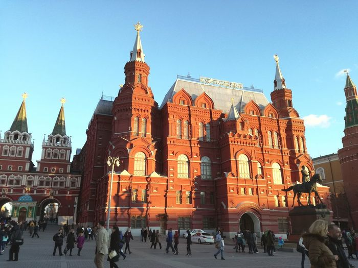 Architecture Tower City Built Structure City Life Façade Statue People Building Exterior Moscow Red Square Manezhnaya Square