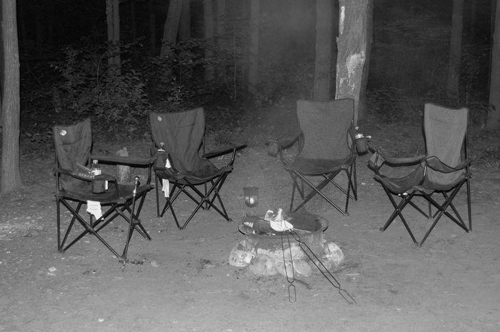 Blackandwhite Campfire Capmionsbjk Desolate Scene Empty Empty Chair Four Nature No People Seat Woods Camp