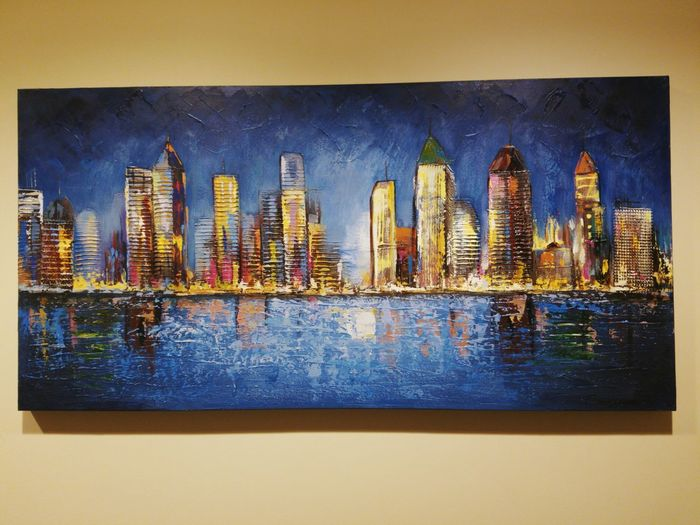 Wall Painting City Life NYC River Skyscrapers