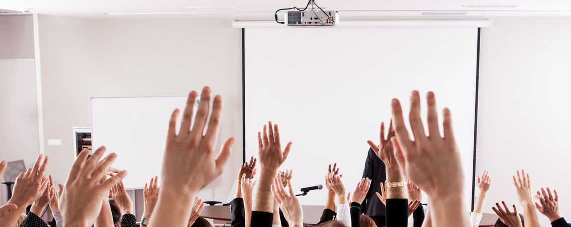 Anonymous Audience Business Class Room Day Education Election Group Hand Hands Human Hand Large Group Of People Learning Many Masses Meeting People Public Raised Seminar Speaker Training Voting