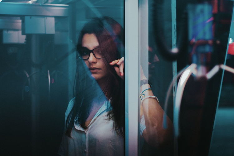 Neon girl Reflection Beautiful Woman Eyeglasses  Close-up Portrait Of A Woman Beauty Backgrounds Best Of EyeEm EyeEm Of The Week The Week On EyeEm VSCO Lifestyles Shadows & Lights Creative Photography VSCO Cam Eye4photography  Fine Art Portrait People