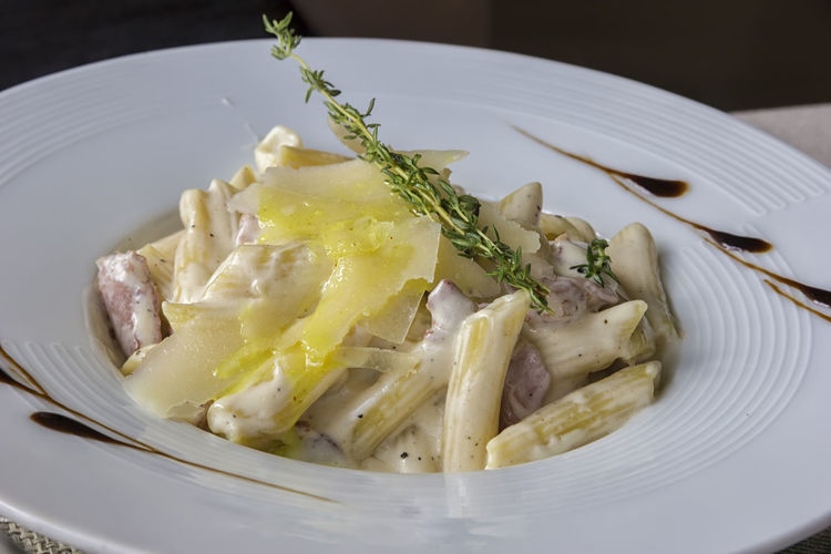 Penne carbonara cheese pasta