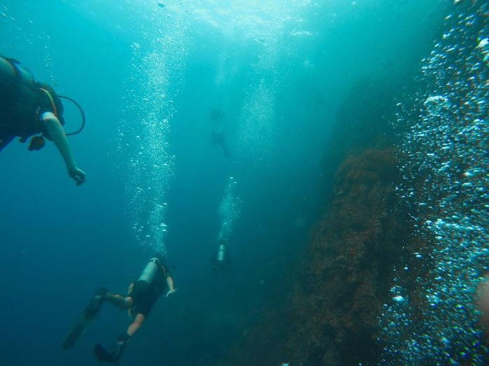 Scuba Diving Adventure Underwater Exploration Real People UnderSea Swimming Scuba Diver Leisure Activity Water Low Angle View Sea Two People Men Day Nature People Done That.