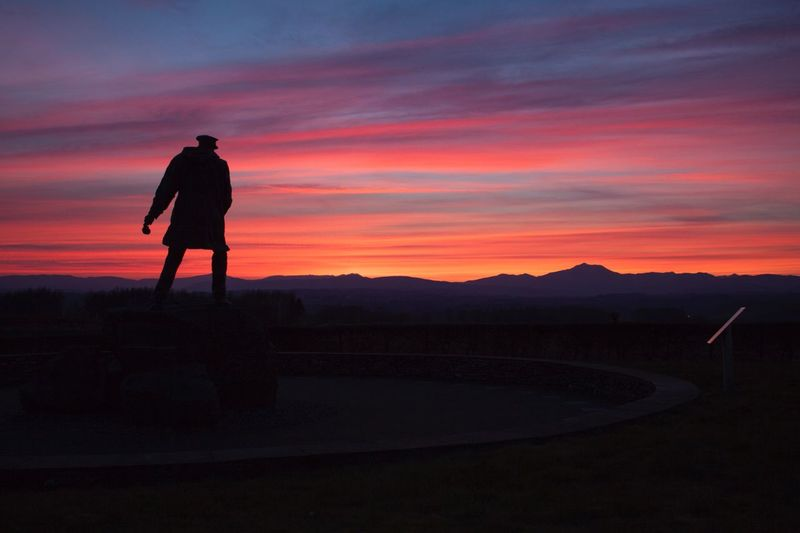 Silhouette of man standing on landscape against sky during sunset