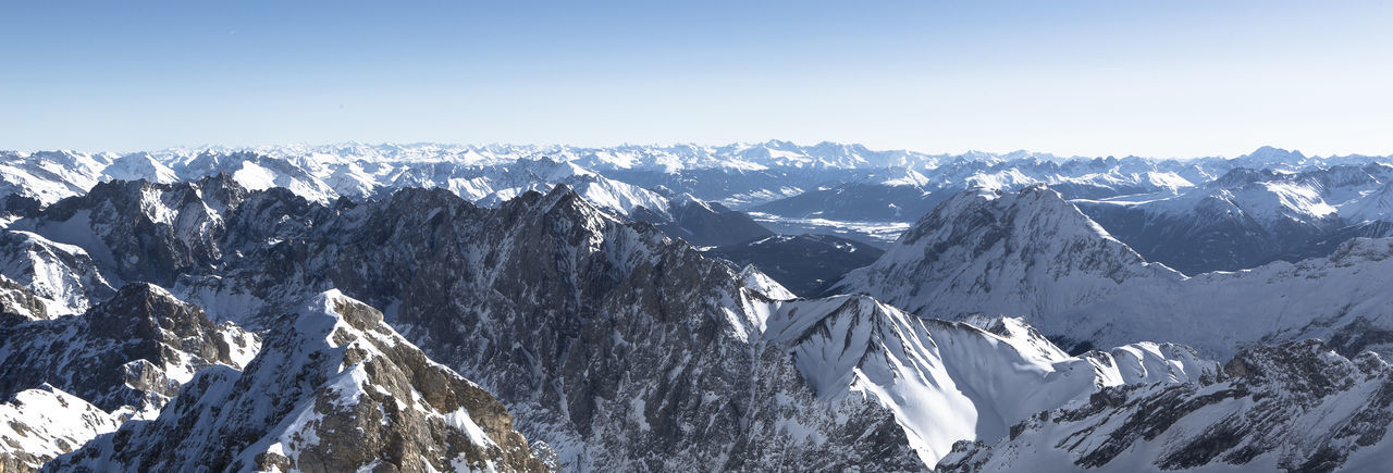 Cold Temperature Mountain Snow Scenics - Nature Environment Mountain Range Beauty In Nature Winter Landscape Sky Snowcapped Mountain Nature No People Mountain Peak Tranquil Scene Non-urban Scene Day Clear Sky Tranquility Outdoors Extreme Weather Zugspitze Zugspitze, Germany