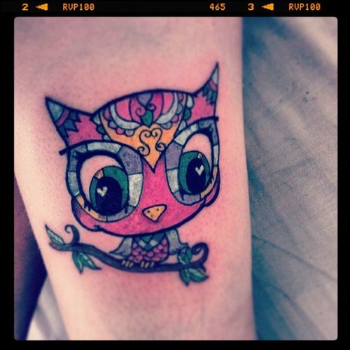 Latest owl! NewInk Thigh Tattoo Cute amazing bright colours owl itsahoot!