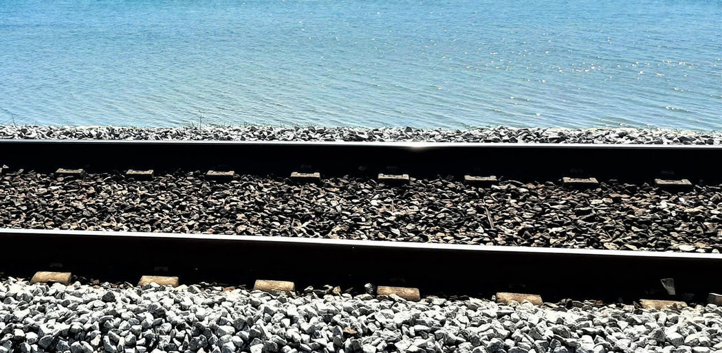 High angle view of railroad tracks by sea