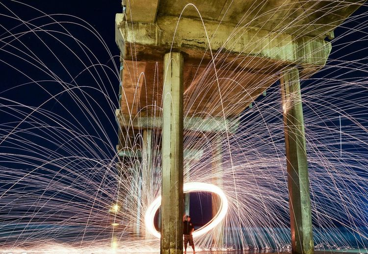 Pier Motion Long Exposure Close-up Wire Wool Light Painting
