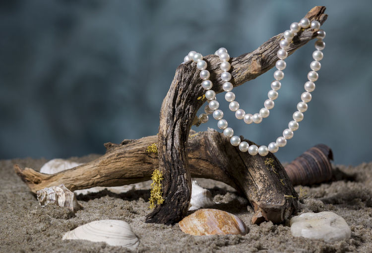 Close-Up Of Pearl Necklace On Wood