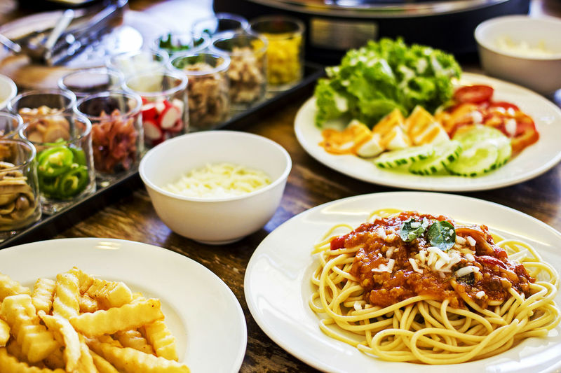 Spaghetti bolognese with various ingredients Cooking Cuisine Culinary Food And Drink Lunch Meal Salad Spaghetti Bolognese Bowl Cookery Egg Food Food And Drink Food Stories Foodstagram French Fries Gourmet Healthy Eating Ingredient Italian Food Mealtime Pasta Savory Food Spaghetti Bolognese
