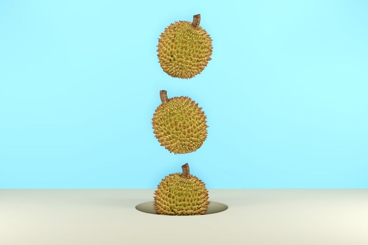 Digital composite image of durian over colored background