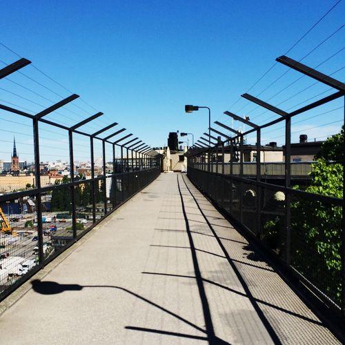 View of bridge over city