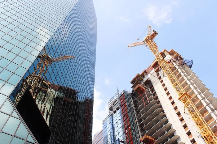Frame Reflection Crane Construction Site Skyline Construction Architecture Skyscraper Built Structure Building Exterior Low Angle View Modern City Outdoors