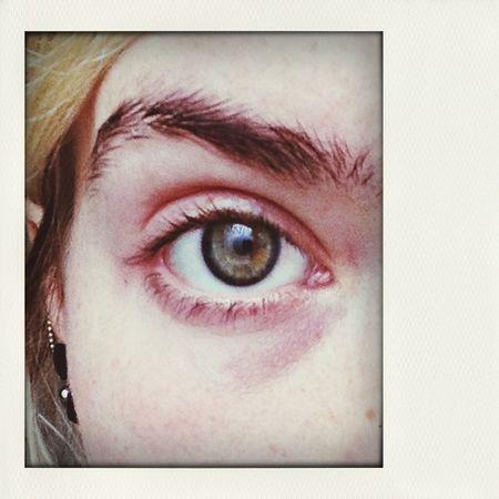 My tired eye. Green Brown Window Reflection