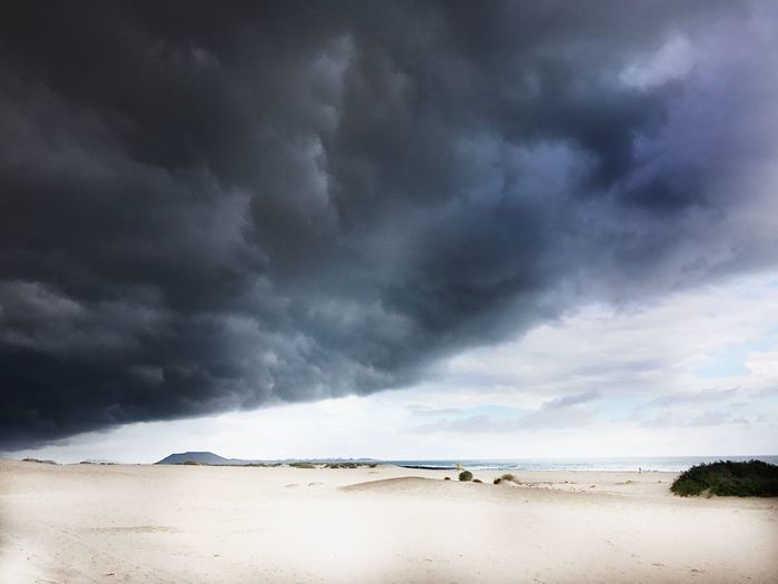 Scenic view of beach against cloudy sky during stormy weather