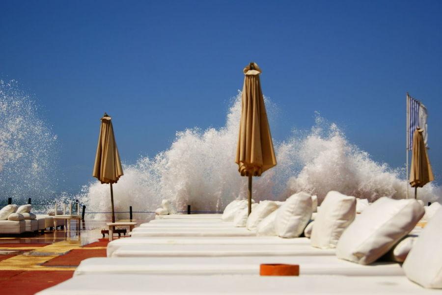 Blackandwhite Nature Force Orange Sky Sunchair Waves Crashing Waves, Ocean, Nature White Yellow