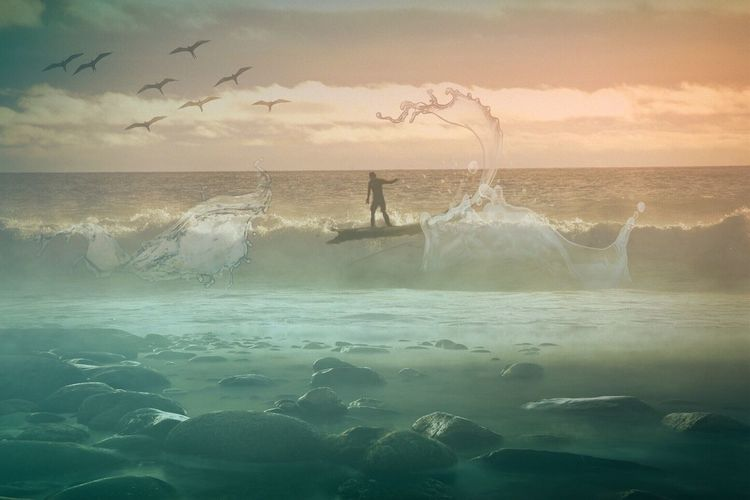 Digital Composite Image Of Man Surfing On Wave In Sea Against Sky